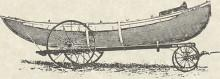 Engraving of lifeboat on wheeled towing carriage