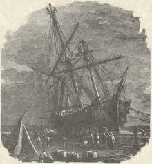 Engraving of ship stranded on sand