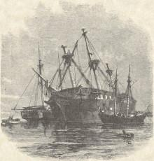 Engraving of smaller boats alongside a wrecked ship
