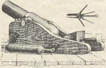 Engraving of cannon-like gun with grappling hook