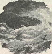 Engraving of ship, stranded on rocks, demasted, battered by waves.